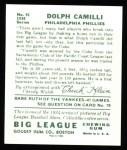 1934 Goudey Reprint #91  Dolph Camilli  Back Thumbnail