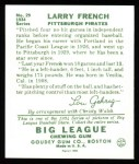 1934 Goudey Reprint #29  Larry French  Back Thumbnail