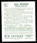 1934 Goudey Reprint #75  Bill Werber  Back Thumbnail