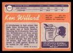 1970 Topps #217  Ken Willard  Back Thumbnail