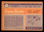 1970 Topps #74  Dave Parks  Back Thumbnail