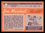 1970 Topps #213  Jim Marshall  Back Thumbnail