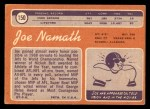 1970 Topps #150  Joe Namath  Back Thumbnail