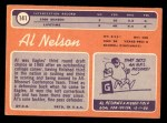 1970 Topps #141  Al Nelson  Back Thumbnail