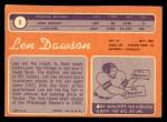 1970 Topps #1  Len Dawson  Back Thumbnail