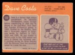1970 Topps #122  Dave Costa  Back Thumbnail
