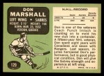 1970 Topps #129  Don Marshall  Back Thumbnail