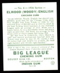1934 Goudey Reprint #4  Woody English  Back Thumbnail