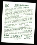 1934 Goudey Reprint #96  James DeShong  Back Thumbnail