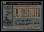 1980 Topps #230  Dave Winfield  Back Thumbnail