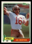 1981 Topps #216  Joe Montana  Front Thumbnail