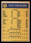 1970 Topps #713   Pilots Team Back Thumbnail