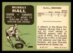 1970 Topps #118  Murray Hall  Back Thumbnail
