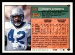 1994 Topps #303  Chris Warren  Back Thumbnail