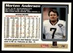 1995 Topps #76  Morten Andersen  Back Thumbnail
