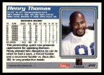 1995 Topps #291  Henry Thomas  Back Thumbnail