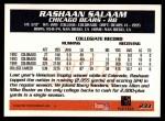 1995 Topps #233  Rashaan Salaam  Back Thumbnail