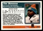 1995 Topps #160  Tim Bowens  Back Thumbnail