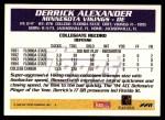 1995 Topps #228  Derrick Alexander  Back Thumbnail