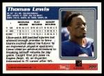 1995 Topps #399  Thomas Lewis  Back Thumbnail