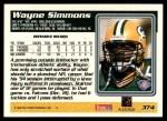 1995 Topps #374  Wayne Simmons  Back Thumbnail