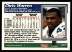 1995 Topps #360  Chris Warren  Back Thumbnail