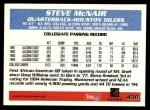 1995 Topps #430  Steve McNair  Back Thumbnail