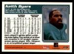 1995 Topps #378  Keith Byars  Back Thumbnail