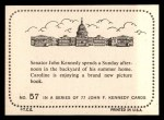 1964 Topps JFK #57   Sen. Kennedy W/Family At Summer Home Back Thumbnail