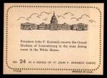 1964 Topps JFK #24   JFK & Grand Duches Of Lux. Back Thumbnail