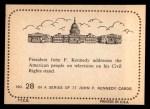 1964 Topps JFK #28   JFK Add. On His Civil Rights St& Back Thumbnail