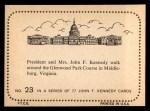 1964 Topps JFK #23   JFK & Jackie Glenwood Park Course Back Thumbnail