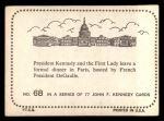 1964 Topps JFK #68   JFK & Jackie Dinner In Paris Back Thumbnail