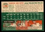 1954 Topps #108  Thornton Kipper  Back Thumbnail
