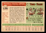1955 Topps #128  Ted Lepcio  Back Thumbnail