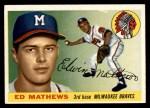 1955 Topps #155  Eddie Mathews  Front Thumbnail