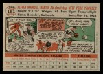 1956 Topps #181  Billy Martin  Back Thumbnail