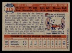 1957 Topps #315  Lou Berberet  Back Thumbnail