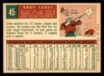 1959 Topps #45  Andy Carey  Back Thumbnail