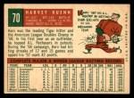 1959 Topps #70  Harvey Kuenn  Back Thumbnail