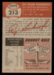 1953 Topps #213  Ray Scarborough  Back Thumbnail