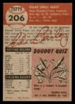 1953 Topps #206  Ed Bailey  Back Thumbnail