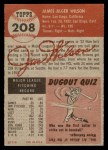 1953 Topps #208  Jimmy Wilson  Back Thumbnail