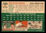 1954 Topps #31  Johnny Klippstein  Back Thumbnail