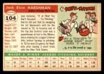 1955 Topps #104  Jack Harshman  Back Thumbnail