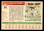 1955 Topps #31  Warren Spahn  Back Thumbnail