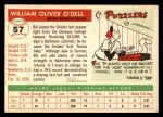 1955 Topps #57  Billy O'Dell  Back Thumbnail