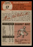 1953 Topps #17  Billy Hitchcock  Back Thumbnail