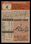 1953 Topps #8  Clem Koshorek  Back Thumbnail