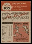 1953 Topps #105  Joe Nuxhall  Back Thumbnail
